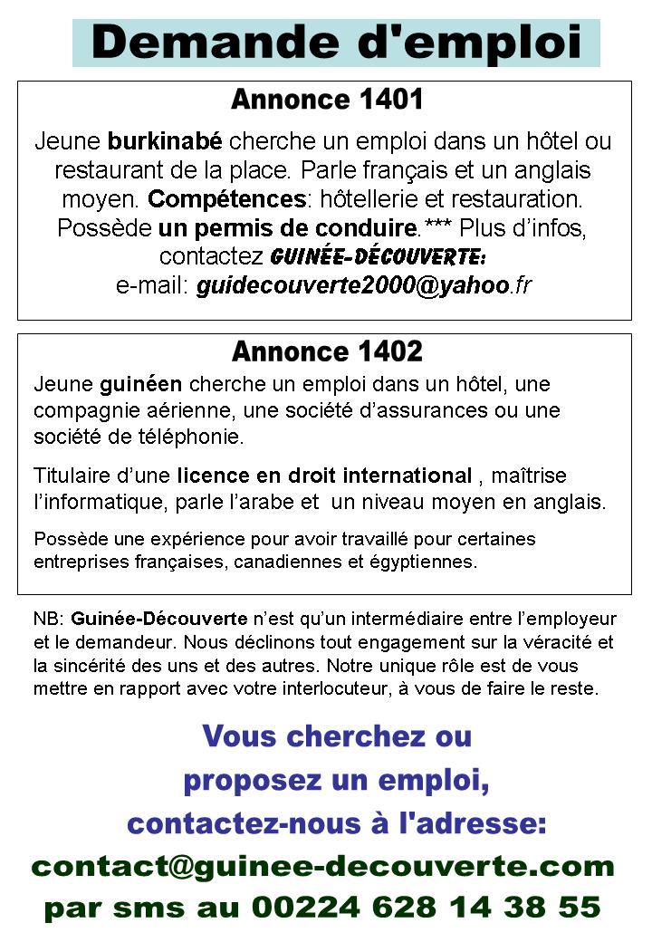 Emploi Offre Et Demande Guinee Decouverte